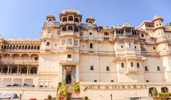 udaipur city palace in rajasthan state - stock photo