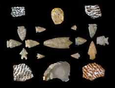Texas arrowheads and pottery sherds. Stock Photos
