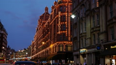 Harrods Department Store, Brompton Road, Knightsbridge, London Stock Footage