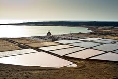 salt piles on a saline exploration - stock photo