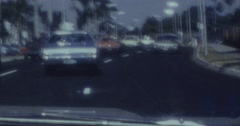 Miami Street 70s 60s with Cars Stock Footage