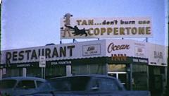 Coppertone Suntan Lotion Sign Old Las Vegas 1960s Vintage Film Home Movie  8125 Stock Footage