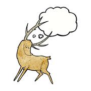 Stock Illustration of cartoon stag with thought bubble