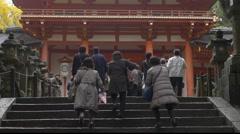 Steps to Main Shrine at Kasuga Taisha in Nara, Japan Stock Footage