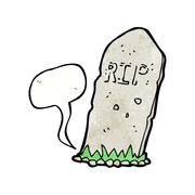 Stock Illustration of cartoon spooky grave with speech bubble