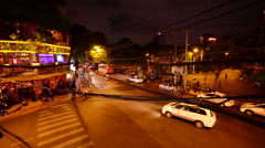 Time Lapse  - Pham Ngu Lao at Night - Ho Chi Minh City Vietnam Stock Footage