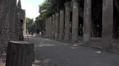 Naples Italy Pompeii walk of ancient columns 4K 053 - stock footage