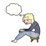 Cartoon crying woman with thought bubble Stock Illustration