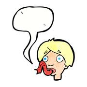 Stock Illustration of cartoon head sticking out tongue with speech bubble