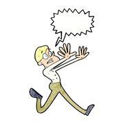 Stock Illustration of cartoon man running away with speech bubble