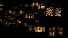 Lanterns in Darkened Shrine at Kasuga Taisha in Nara, Japan Stock Footage