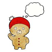 cartoon waving teddy bear in winter hat with thought bubble - stock illustration