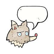 Stock Illustration of cartoon unhappy wolf with speech bubble
