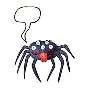 Stock Illustration of cartoon gross halloween spider with speech bubble