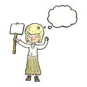 Stock Illustration of cartoon hippie girl with protest sign with thought bubble