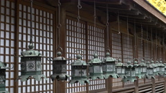 Lanterns at Kasuga Taisha in Nara, Japan Stock Footage