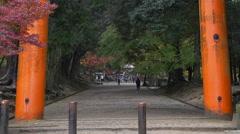 Entrance to Tamukeyama-Hachiman Shrine in Nara, Japan Stock Footage