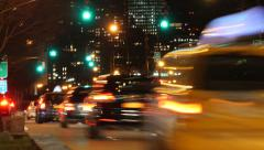 time lapse of traffic city street at night. signal lights. rush hour. cars - stock footage