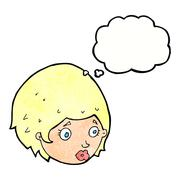 cartoon girl with concerned expression with thought bubble - stock illustration