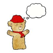 Stock Illustration of cartoon teddy bear in hat and scarf with thought bubble