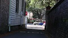 Dark alley between townhomes Stock Footage