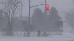 Blizzard snow and high wind in severe snow storm on cold winter day - stock footage