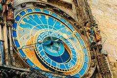 Astronomical Clock In Prague, Czech Republic. Close Up Photo - stock photo