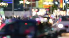 Defocus Tokyo evening street scene Stock Footage