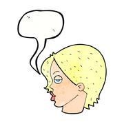 Cartoon woman raising eyebrow with speech bubble Stock Illustration