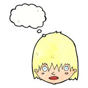 cartoon staring woman with thought bubble - stock illustration