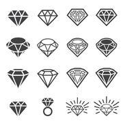 Diamond icon set Stock Illustration