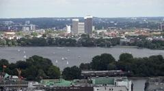 Hamburg Binnenalster aerial Stock Footage