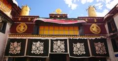 4k Pilgrams Praying In Front Of The Jokhang Temple In Lhasa,Tibet. Stock Footage