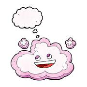 cartoon decorative cloud with thought bubble - stock illustration