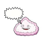 Stock Illustration of cartoon decorative cloud with speech bubble