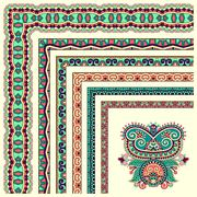floral vintage frame design. Vector set. All components are easy - stock illustration