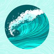 Sea waves circle - stock illustration