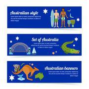 Australia Banner Set Stock Illustration