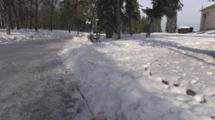 Panoramic shot empty park alley in winter season, white snow and trees outdoor Stock Footage