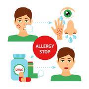 Allergy Prevention Concept - stock illustration