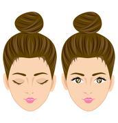 beautiful women face vector - stock illustration