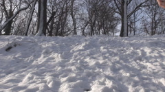 Mountain climbing man in winter season making sport, white snow background cover - stock footage