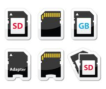 SD, memory card, adapter icons set - stock illustration