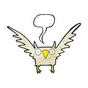Stock Illustration of cartoon owl with speech bubble