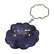cartoon vampire cloud with thought bubble - stock illustration