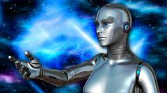 futuristic female android in deep space - stock illustration