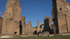 Stock Video Footage of Caracalla baths, ancient Roman ruins in Rome, Italy