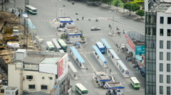 Time Lapse of Bus Station from Above - Ho Chi Minh City Vietnam Stock Footage