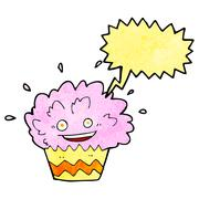 Stock Illustration of cartoon exploding cupcake with speech bubble