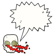 Cartoon gross skull with speech bubble Stock Illustration